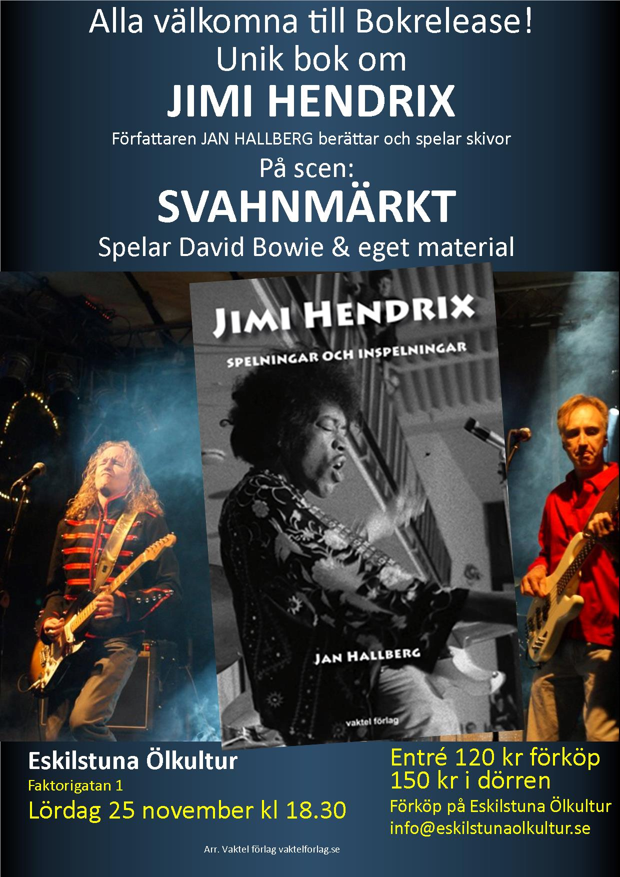 Lördag 25 nov kl 18.30: JIMI HENDRIX-AFTON! Vi firar Jimi Hendrix 75-årsdag!