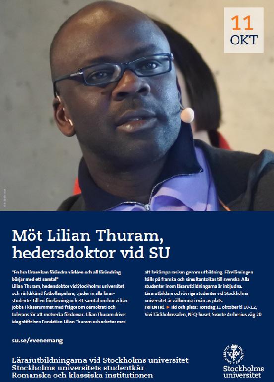Möt Lilian Thuram, Stockholms universitet torsdag 11 oktober